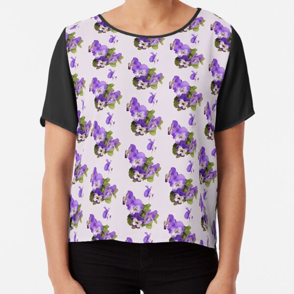Purple pansies on pink - just for fun Chiffon Top