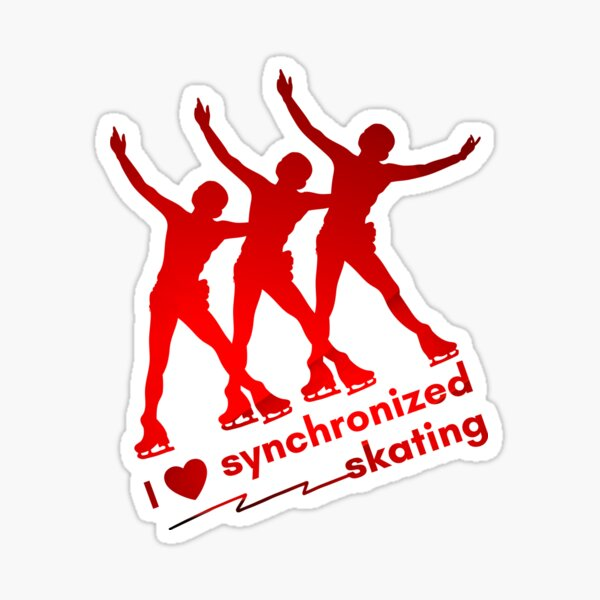 Love Synchronized Skating spread eagles red gradient Sticker