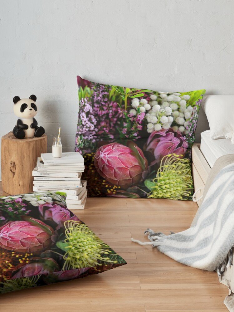Alternate view of Closed Protea in a bouquet from South Africa (Southern Africa) Floor Pillow