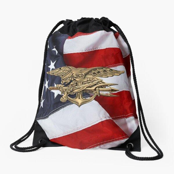 U.S. Navy SEALs Trident over American Flag  Drawstring Bag