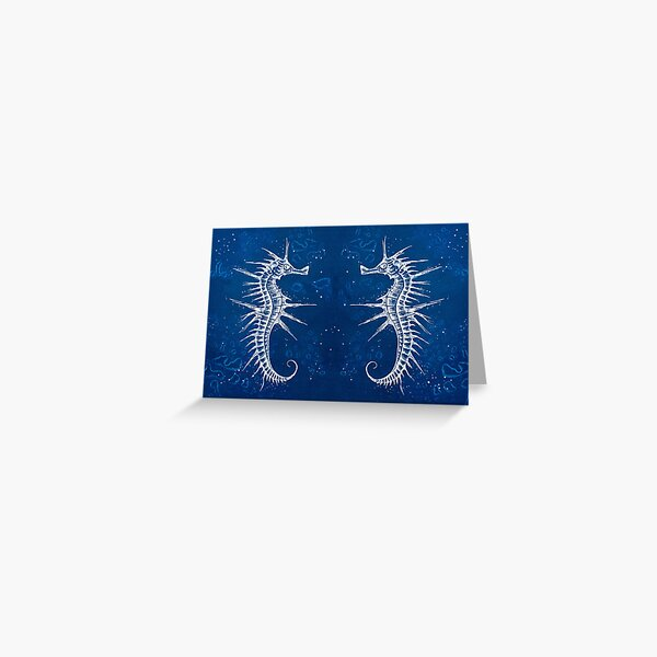 detailed cyanotype dotwork drawing of a seahorse Greeting Card