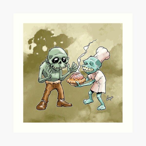 Zombies Share Pie 2 Art Print