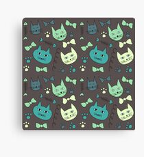 Cute, hand green, brown cats Canvas Print
