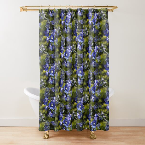 Blue Delphinium Flowers Contrasted Shower Curtain