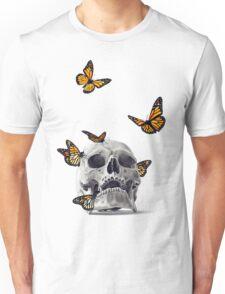 Skull with Monarch Butterflies Unisex T-Shirt