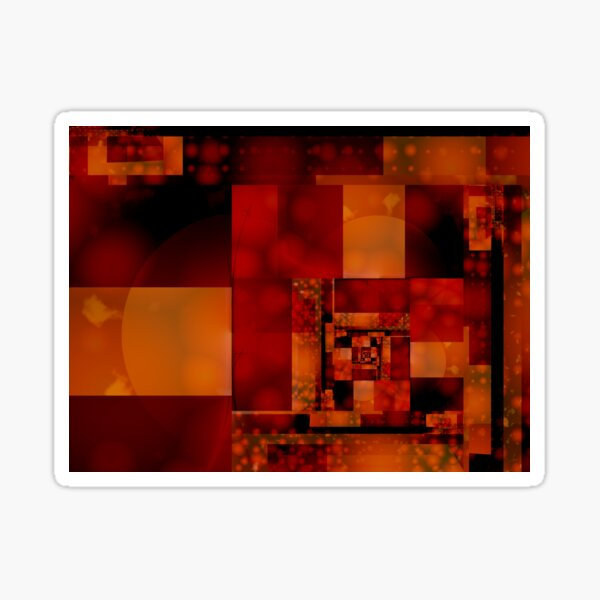 City Abstract - Fire Red Sticker