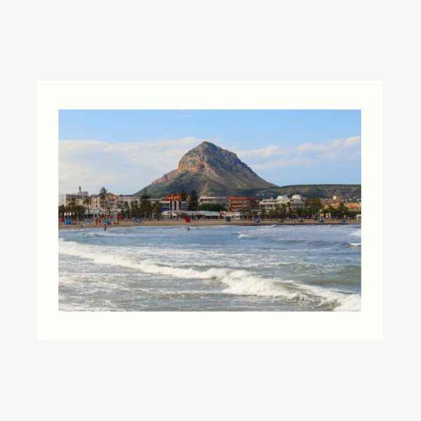 Javea, Spain. Montgo Mountain viewed from the Arenal. Art Print
