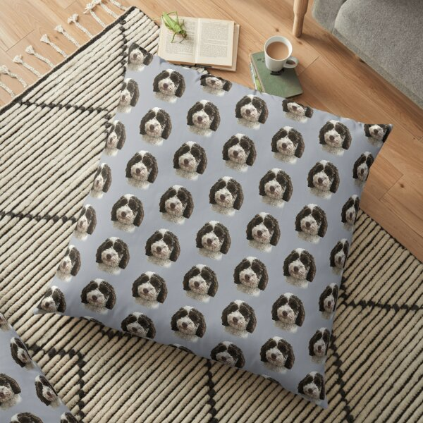 Brown & White Doodle Dog  Floor Pillow