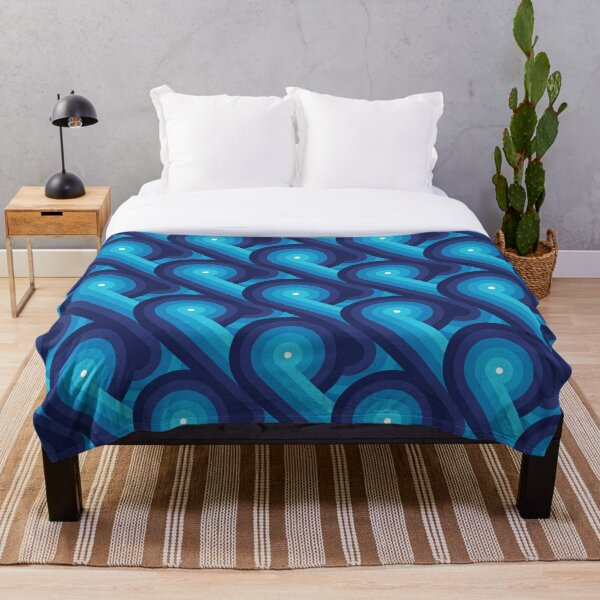 Disco Circles Geometric Pattern – Blue Throw Blanket
