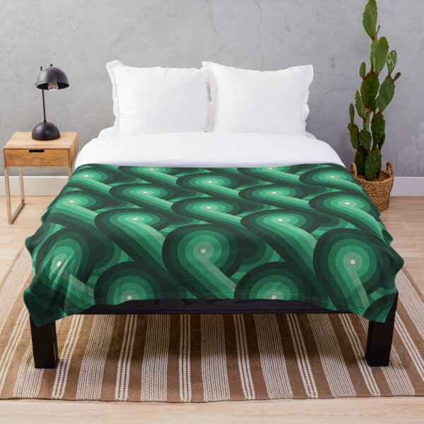 Disco Circles Geometric Pattern – Green Throw Blanket