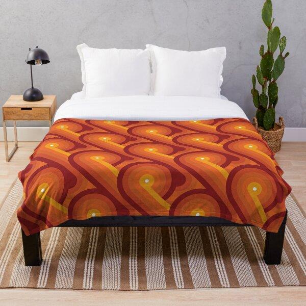 Disco Circles Geometric Pattern – Orange Throw Blanket