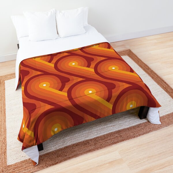 Disco Circles Geometric Pattern – Orange Comforter