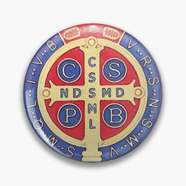 Chapa o Pin medalla San Benito - Azul Chapa