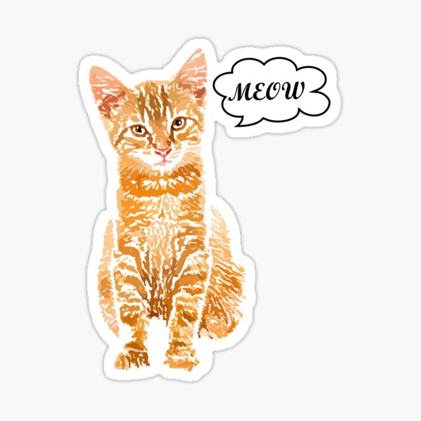 Red cat meow, meows, meow Sticker