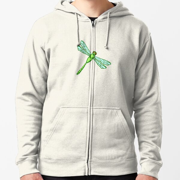 Dragon Fly Drawing Zipped Hoodie