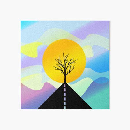 Route de montagne et arbre silhouette, coucher de Soleil  Impression rigide