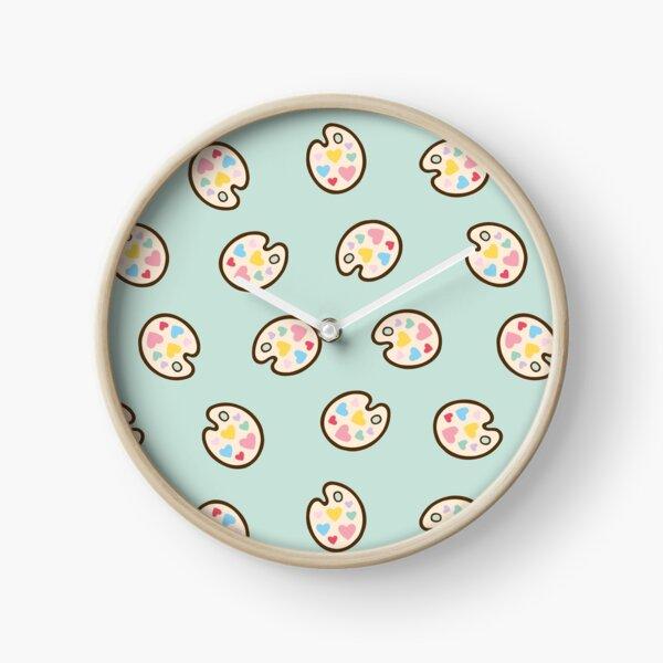 Heart Paint Palette Pattern on Mint Clock
