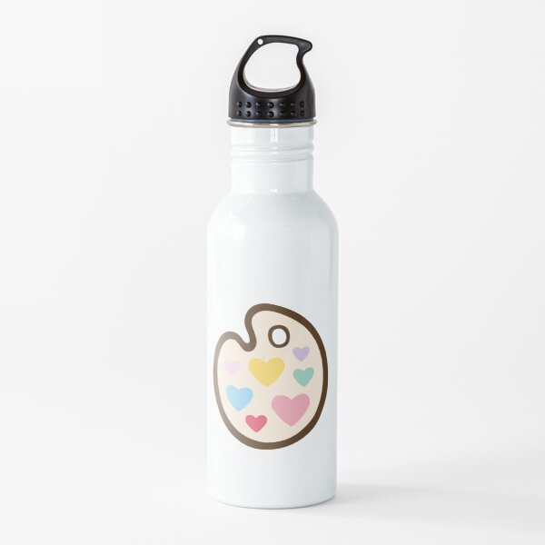 Heart Paint Palette Pattern on Mint Water Bottle
