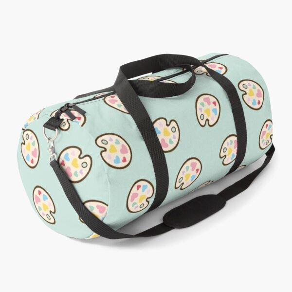 Heart Paint Palette Pattern on Mint Duffle Bag