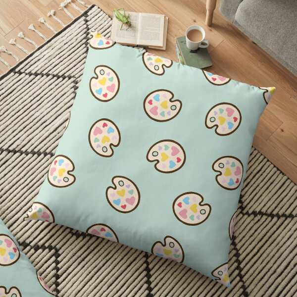 Heart Paint Palette Pattern on Mint Floor Pillow