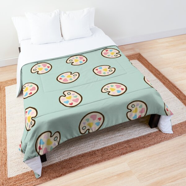 Heart Paint Palette Pattern on Mint Comforter
