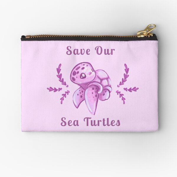 Save Our Sea Turtles Sticker and Statement Design - Pink Zipper Pouch