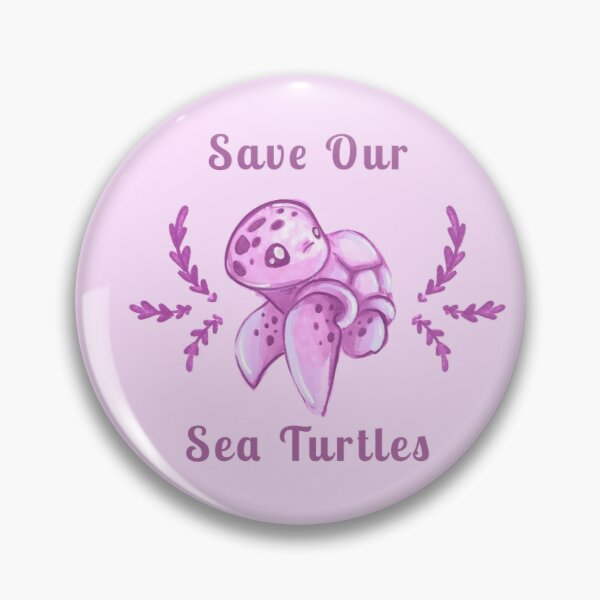 Save Our Sea Turtles Sticker and Statement Design - Pink Pin
