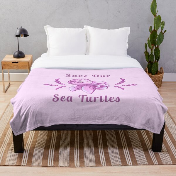 Save Our Sea Turtles Sticker and Statement Design - Pink Throw Blanket