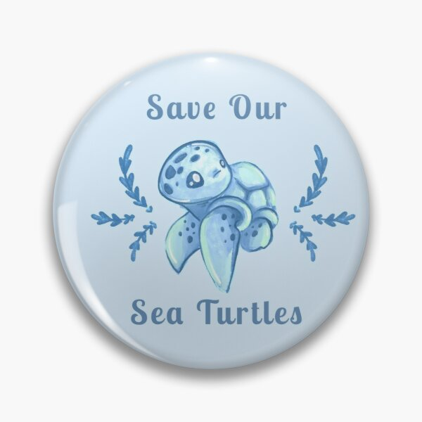 Save Our Sea Turtles Sticker and Statement Design - Blue Pin