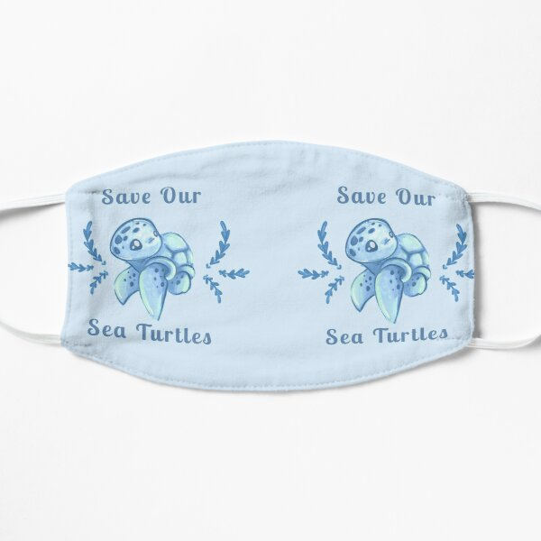 Save Our Sea Turtles Sticker and Statement Design - Blue Mask