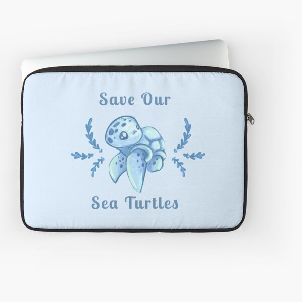 Save Our Sea Turtles Sticker and Statement Design - Blue Laptop Sleeve