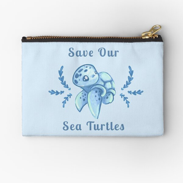 Save Our Sea Turtles Sticker and Statement Design - Blue Zipper Pouch