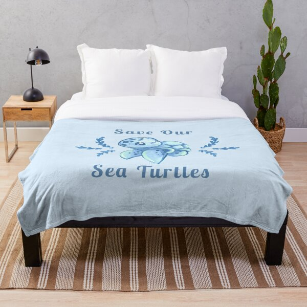 Save Our Sea Turtles Sticker and Statement Design - Blue Throw Blanket