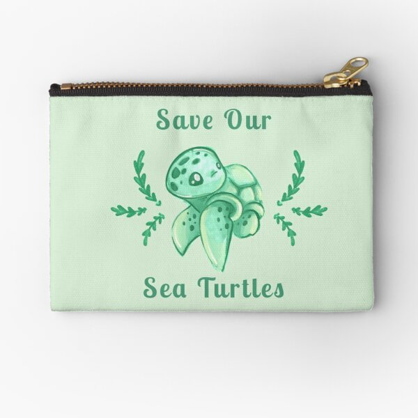 Save Our Sea Turtles Sticker and Statement Design - Cute Baby Green Sea Turtle Zipper Pouch