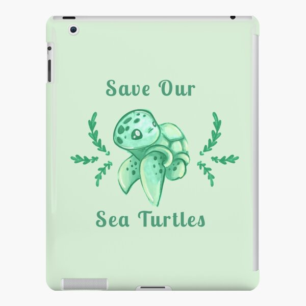 Save Our Sea Turtles Sticker and Statement Design - Cute Baby Green Sea Turtle iPad Snap Case