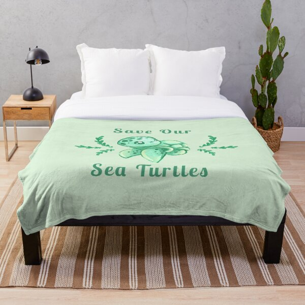 Save Our Sea Turtles Sticker and Statement Design - Cute Baby Green Sea Turtle Throw Blanket