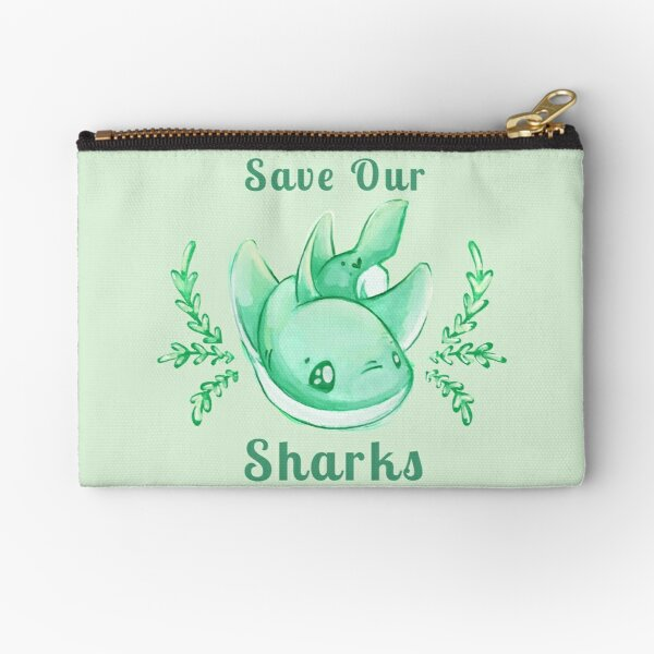 Save Our Sharks Sticker and Statement Design - Cute Baby Shark Illustration Zipper Pouch