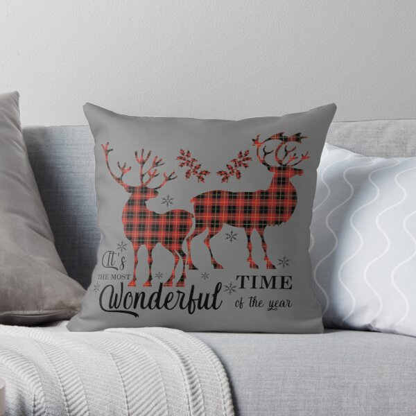 Plaid Deer | The Most Wonderful Time Of The Year. Throw Pillow