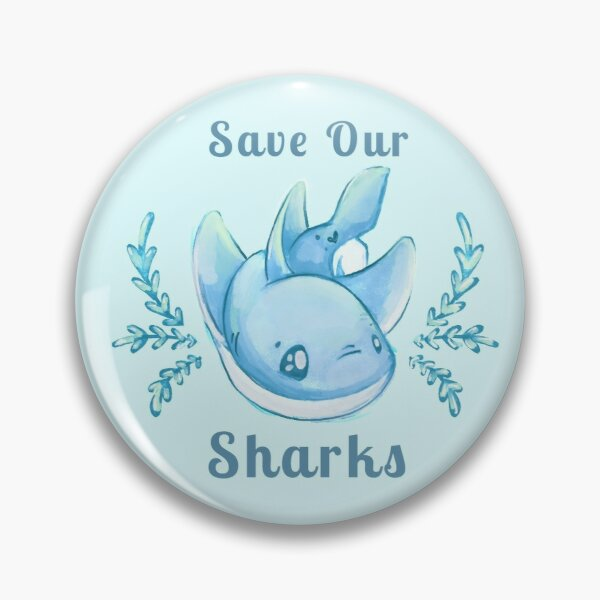 "Sea Breeze Blue ""Save Our Sharks"" Sticker and Statement Design - Cute Baby Shark Illustration Pin"