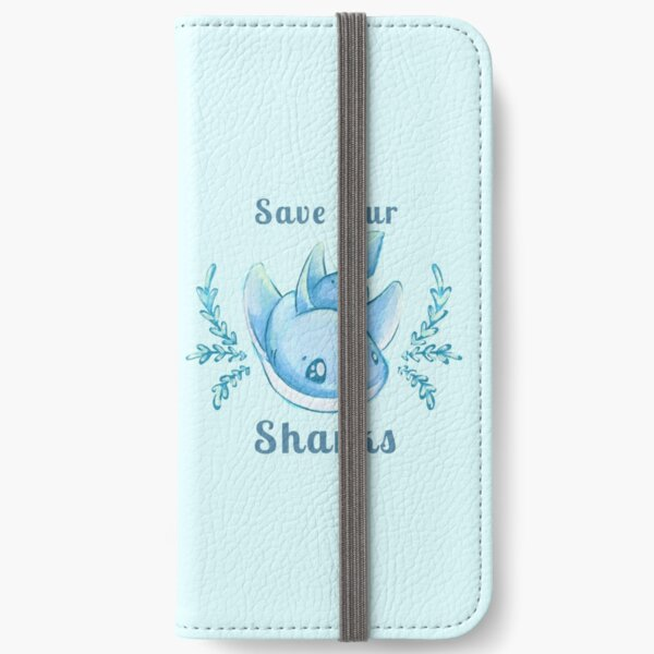 "Sea Breeze Blue ""Save Our Sharks"" Sticker and Statement Design - Cute Baby Shark Illustration iPhone Wallet"