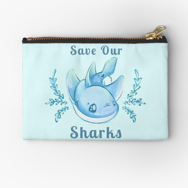 "Sea Breeze Blue ""Save Our Sharks"" Sticker and Statement Design - Cute Baby Shark Illustration Zipper Pouch"