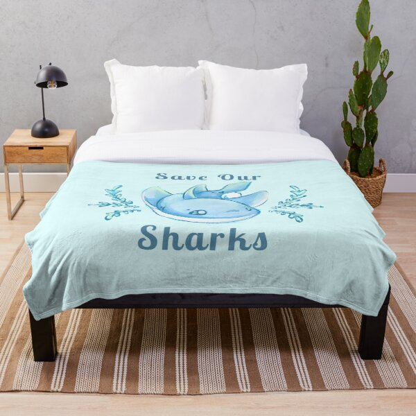 """Sea Breeze Blue """"Save Our Sharks"""" Sticker and Statement Design - Cute Baby Shark Illustration Throw Blanket"""