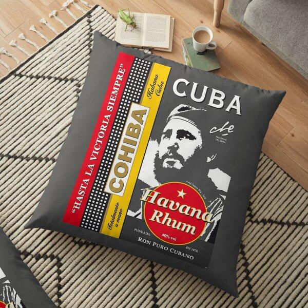 Affiche vintage de voyage Cuba Castro Che Guevara Cohiba Coussin de sol