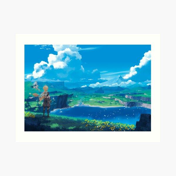 Genshin Impact Landscape Paimon Spiel 2020 Kunstdruck