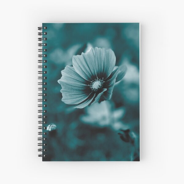 Cosmos Flower Photography in dark cyan, arctic blue tone Spiral Notebook