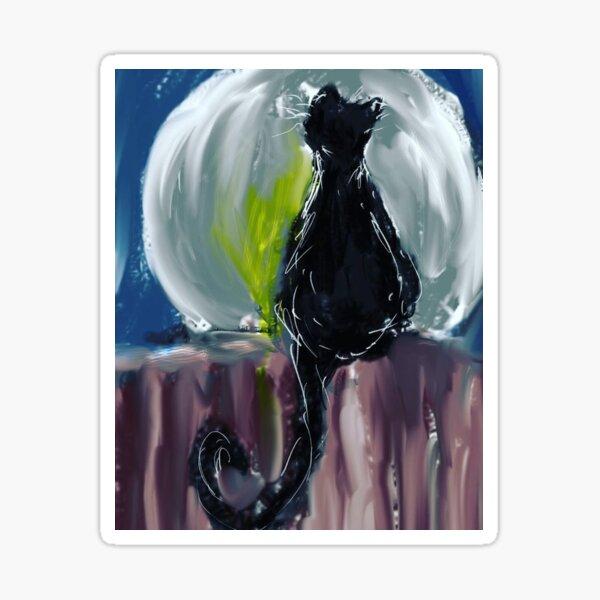 Black Cat Night Sticker