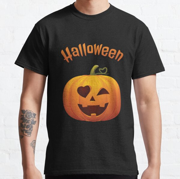 Happy Halloween lovely pumpkin with heart Classic T-Shirt