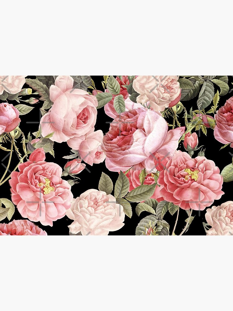 Pink Vintage Roses on Black by UtArt