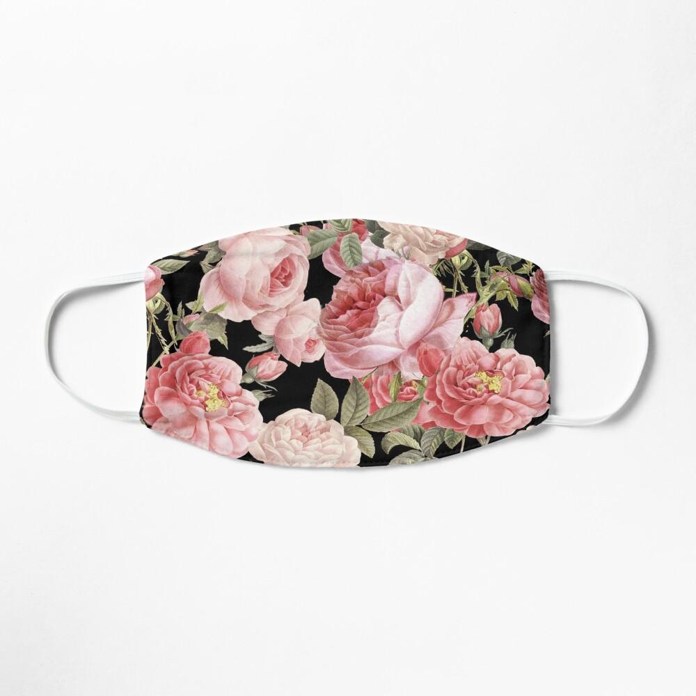 Pink Vintage Roses on Black Mask