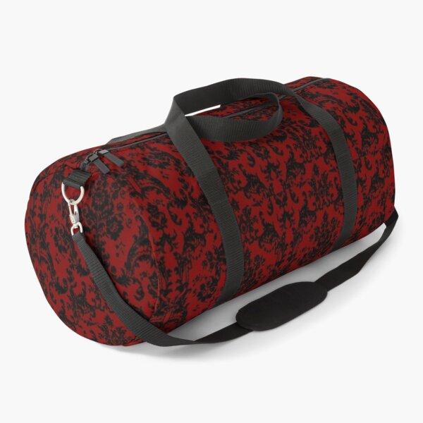Black Damask Red Pattern Victorian Edwardian Goth Gothic Romantic Haunting Duffle Bag